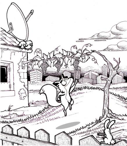 Cartoon: the fox and the grapes (medium) by buddybradley tagged fox,grapes,bunny,bird,aesop,fable,esopo,favola,illustration,illustrazione,black,white,bianco,nero,collina,citta,cartoon,handmade,hill,city,jump,jumping,drawing,drawn,the