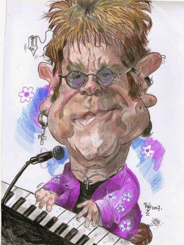 Cartoon: Elthon John (medium) by RoyCaricaturas tagged elthon,john,music,famous,singer