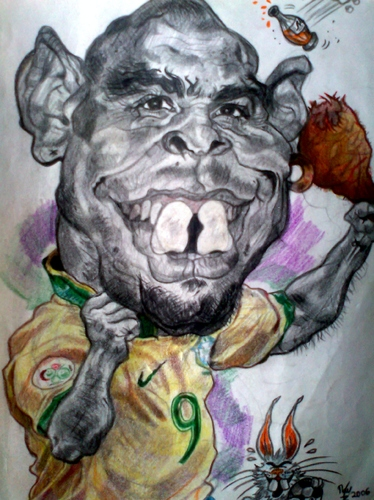Cartoon: Ronaldo Nazario (medium) by RoyCaricaturas tagged ronaldo,brazil,soccer,football