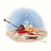 Cartoon: Bye Bye Cupidon (small) by Mikl tagged mikl michael olivier miklart art illustration painting cupidon angel hammer kill