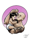 Cartoon: Mikl and Sacha (small) by Mikl tagged mikl,michael,olivier,miklart,art,illustration,painting,sacha,dad,baby,tattoo