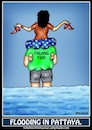 Cartoon: Flooding in Pattaya (small) by Mike J Baird tagged flood,help,thai,girl,english,guy,taxi