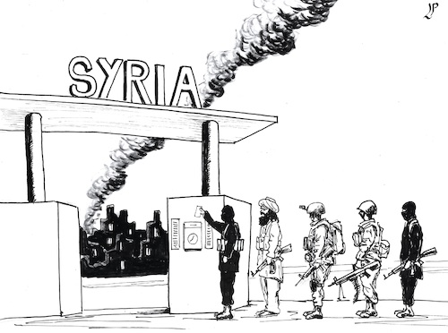Cartoon: Death Factory men at work (medium) by paolo lombardi tagged syria,war,peace