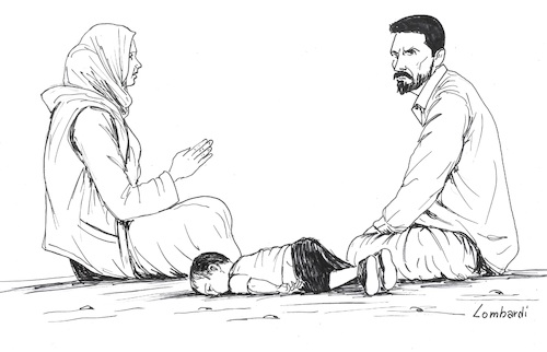 Cartoon: Jesus is dead (medium) by paolo lombardi tagged christmas,jesus,refugees,racism,war