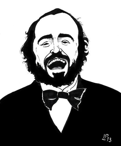 Cartoon: Luciano Pavarotti (medium) by paolo lombardi tagged italy,cartoon,caricature