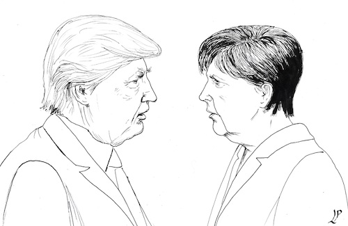 Cartoon: When the faces speak (medium) by paolo lombardi tagged usa,germany,merkel,trump