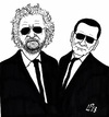 Cartoon: The Italian Blues Brothers (small) by paolo lombardi tagged italy,politics,satire,cartoon,election,berlusconi,grillo