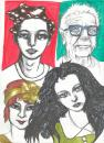 Cartoon: faces and faces (small) by novak and nemo tagged girl,bor,elderly,youth,time,portrait