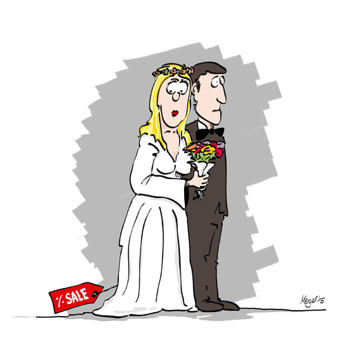 Cartoon: Braut (medium) by Mergel tagged marriage,hochzeit,braut,brautpaar,sale,schlußverkauf,heirat,partnerschaft