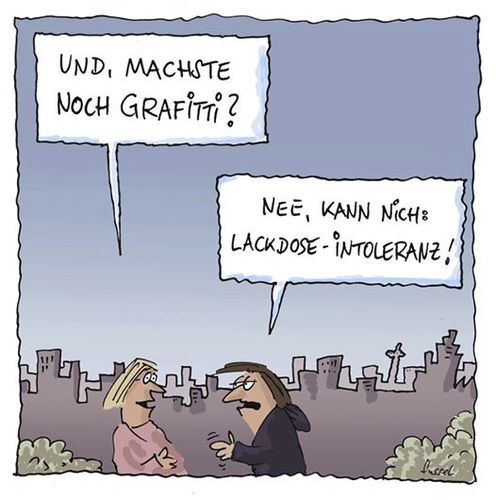 Cartoon: Berufsunfähig? (medium) by fussel tagged berufsunfähig,laktose,intoleranz,sprayer,grafitti,lackdose