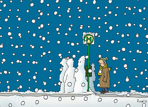 Cartoon: Too late? (medium) by fussel tagged bus,wait,delay,snow,verspätung,schnee,mistwetter