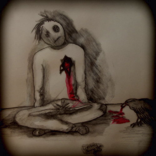 Cartoon: Death by Crow (medium) by Krinisty tagged death,crow,pencil,bleeding,heart,creepy,puppet