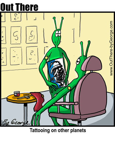 Cartoon: alien tattoos (medium) by George tagged alien,tattoos