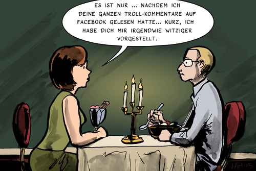 Cartoon: Witziger Farbiger (medium) by Jaehling tagged troll,gamergate,internet,kommentare,forum,restaurant,date,facebook