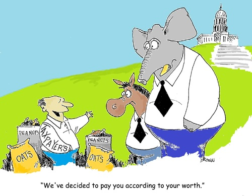 Cartoon: Paying Congress their worth (medium) by Joebrowntoons tagged congress,political,editorial,cartoon,joebrown,politics,election,taxes,taxpayer,voter,vote,representative,congressman,obama,obamacartoon,president