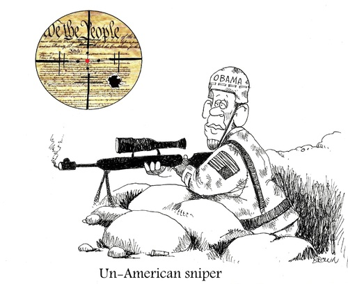 Cartoon: Un-American sniper (medium) by Joebrowntoons tagged american,sniper,chriskyle,obama,constitution,nra,rights,2ndamendment,barack