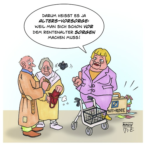 Cartoon: Alters-Vorsorge (medium) by Timo Essner tagged altersvorsorge,rente,merkel,altersarmut