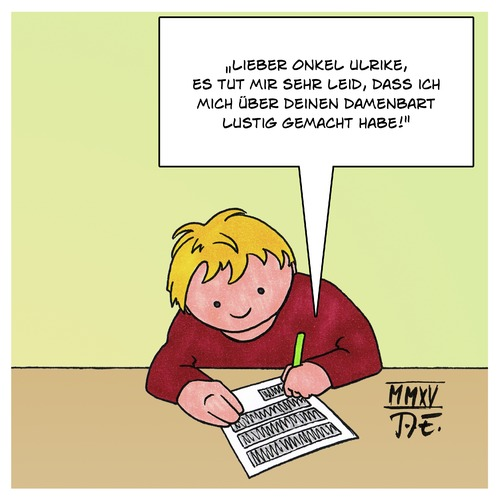 Cartoon: Damenbart (medium) by Timo Essner tagged schuldgefühle,frau,bart,intersexuell,transsexuell,schreiben,brief,kind,tante,onkel,kinder,onkel,tante,kind,brief,schreiben,transsexuell,intersexuell,bart,frau,schuldgefühle,kinder