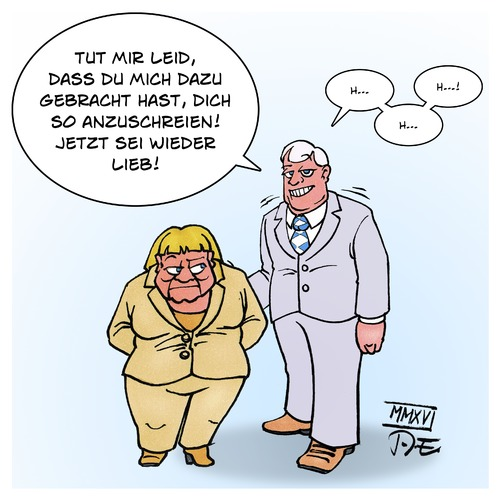 Cartoon: Merkel Seehofer Versöhnung (medium) by Timo Essner tagged seehofer,merkel,parteitag,cdu,csu,schwesterpartei,versöhnung,strategie,wahlkampf,bundestagswahl,btw17,cartoon,timo,essner,seehofer,merkel,parteitag,cdu,csu,schwesterpartei,versöhnung,strategie,wahlkampf,bundestagswahl,btw17,cartoon,timo,essner