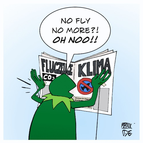 Cartoon: No fly no more (medium) by Timo Essner tagged climate,change,flights,airplane,air,traffic,co2,carbon,emissions,kermit,the,frog,timo,essner,no,climate,change,flights,airplane,air,traffic,co2,carbon,emissions,kermit,the,frog,timo,essner
