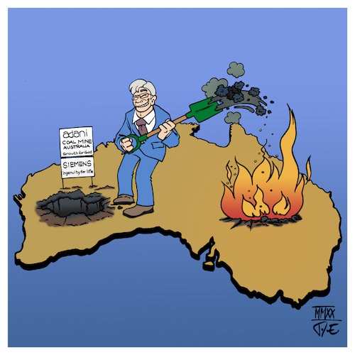 Cartoon: Siemens fuels fires (medium) by Timo Essner tagged australien,waldbrände,klimakatastrophe,umweltkatastrophe,siemens,adani,kohlemine,kohle,kohlekraft,kohleausstieg,klimaziele,co2,emissionen,energiewende,verkehrswende,siemensfuelsfires,australia,burning,coal,mining,energy,fires,cartoon,timo,essner,australien,waldbrände,klimakatastrophe,umweltkatastrophe,siemens,adani,kohlemine,kohle,kohlekraft,kohleausstieg,klimaziele,co2,emissionen,energiewende,verkehrswende,siemensfuelsfires,australia,burning,coal,mining,energy,fires,cartoon,timo,essner