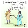 Cartoon: Lagardes Last Offer (small) by Timo Essner tagged imf,christine,lagarde,alexis,tsipras,democracy,greece,grexit,oxi,austerity,debt,economics,finances,taxes,welfare,state,bankruptcy,rebuilding,nation