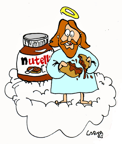 Cartoon: Nutella in Heaven (medium) by Carma tagged nutella,ferrero,god,sweets,labells