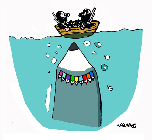 Cartoon: Shark (medium) by Carma tagged charlie,hebdo,shark,terrorism,freedom,of,expression