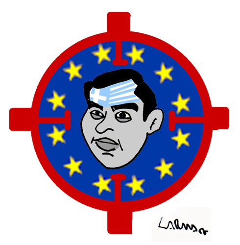 Cartoon: Target (medium) by Carma tagged tsipras,greece,eu,merkel,politics