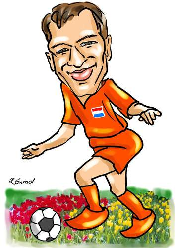 Cartoon: Arjen Robben (medium) by Ralf Conrad tagged fußball,niederlande,arjen,robben,tulpen