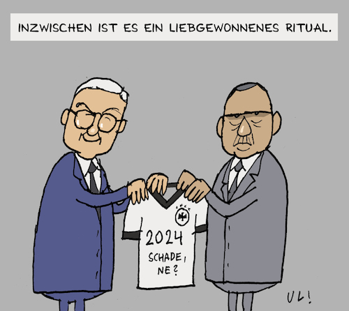 Cartoon: Gastgeschenk (medium) by Uliwood tagged staatsbesuch,erdogan,steinmeier,deutschland,türkei,özil,euro2024,europameisterschaft,fußball,em2024,besuch,gastgeschenk