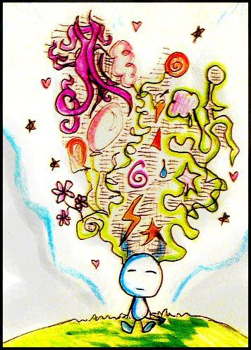 Cartoon: Imagine. (medium) by Radio-active Girl tagged yeep,imagine,dream,colour,cartoon,doodle