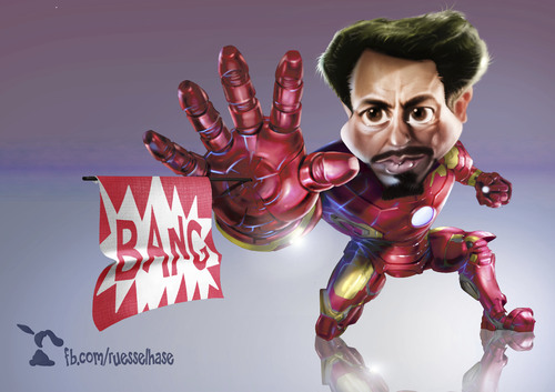 Cartoon: Iron Man BANG (medium) by Rüsselhase tagged iron,man,civil,war,marvel