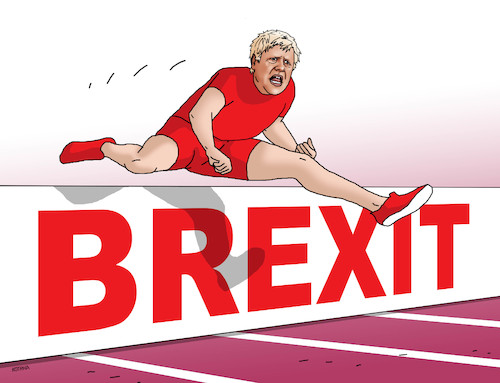 Cartoon: brexprekaz (medium) by kotrha tagged eu,brexit,great,britain,boris,johnson,euro,libra