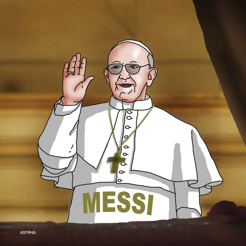 Cartoon: francismessi (medium) by kotrha tagged new,pope,neue,papst,konklave,conclave