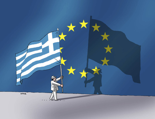 Cartoon: greshadeu (medium) by kotrha tagged greece,eu,referendum,syriza,tsipras,ecb,euro