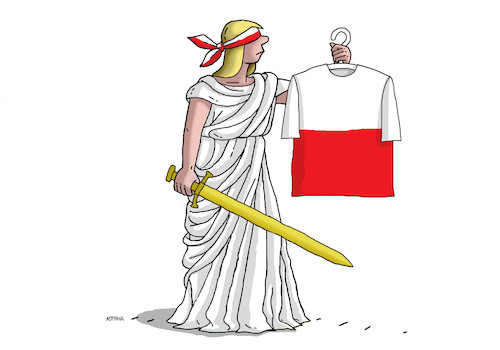 Cartoon: justishirt (medium) by kotrha tagged poland,justice,democracy,dictator,freedom,peace,war,world