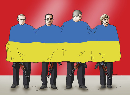 Cartoon: minsk2 (medium) by kotrha tagged ukraine,minsk,putin,merkel,hollande,poroshenko,kyev,peace,war