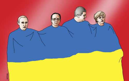 Cartoon: minsk (medium) by kotrha tagged ukraine,minsk,putin,merkel,hollande,poroshenko,kyev,peace,war