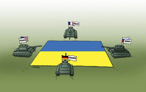 Cartoon: tankovo (medium) by kotrha tagged ukraine,minsk,europa,world,war,peace,purin,merkel,obama,hollande