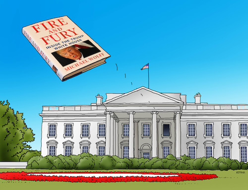 Cartoon: trumphouse (medium) by kotrha tagged donald,trump,fire,and,fury,book,usa,white,house,washington,dollar,world