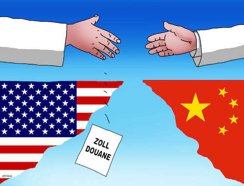 Cartoon: usachinazoll-de (medium) by kotrha tagged usa,china,trump,zoll,douane