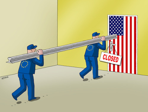 Cartoon: usaclosed18 (medium) by kotrha tagged usa,europe,world,trade,war,clo,zoll,douanne