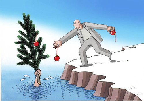 Cartoon: zdobenie (medium) by kotrha tagged christmas,santa