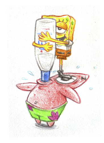 Cartoon: Sponge vodka supply (medium) by Trippy Toons tagged spongebob,sponge,bob,squarepants,schwammkopf,patrick,star,alcohol,alkohol,vodka,wodka,drink,trinken,drunk,drunken,betrunken,sip,sipping,saufen,säufer