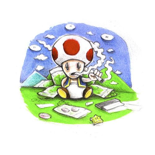 Cartoon: Toad (medium) by Trippy Toons tagged mario,super,trippy,toad,mushroom,weed,cannabis,stoner,kiffer,ganja,video,game