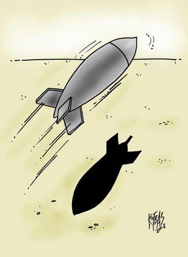 Cartoon: reluctant (medium) by kotbas tagged bombs,missiles,shadow