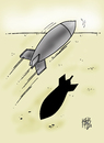 Cartoon: reluctant (small) by kotbas tagged bombs,missiles,shadow