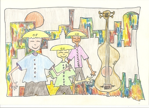 Cartoon: 3 chinesen mit  nem Kontrabass (medium) by skätsch-up tagged chinese,bass,street,talking,speeking