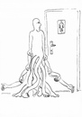 Cartoon: entrance (small) by Jan Kment tagged man,personality,difference,stream,uniformity